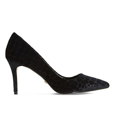 DUNE Aisha croc-effect velvet court shoes (Black-velvet