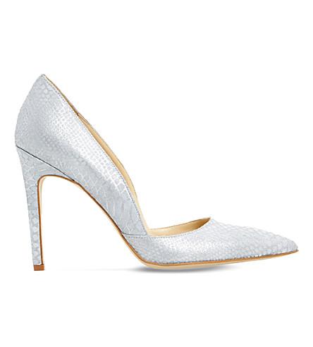 DUNE Alia snake-embossed leather heeled courts (Grey-reptile