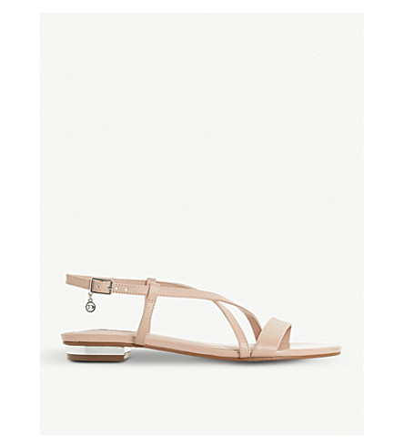 DUNE Nenna strappy patent sandals (Nude-plain+synthetic