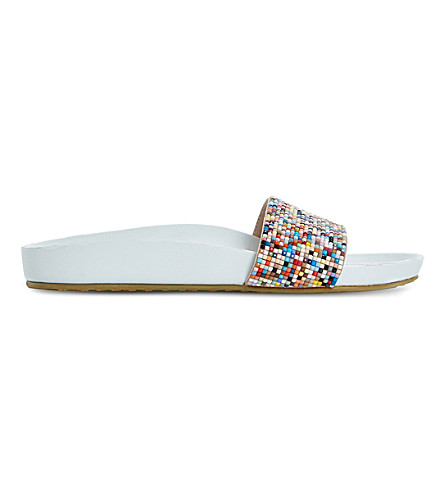 DUNE Loveheart embellished sliders (White