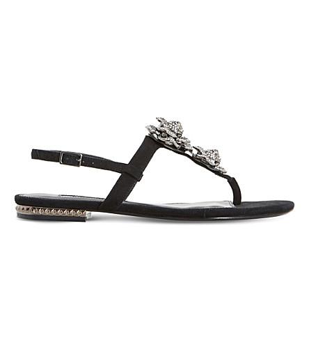 DUNE Mulligan - jewel floral brooch sandal (Black-suede