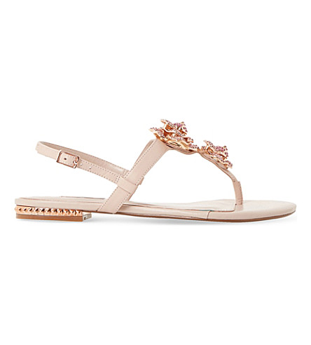 DUNE Mulligan floral brooch T-bar sandals (Blush-leather