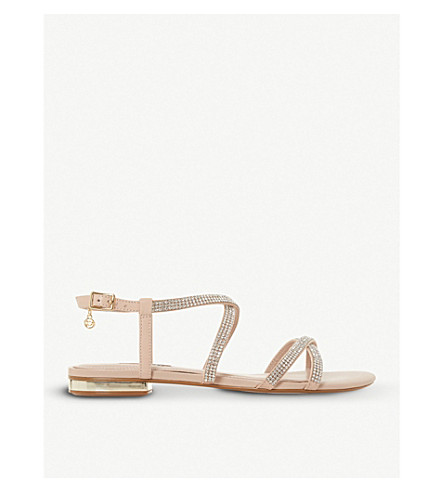 DUNE Neve cross-strap embellished leather sandals (Nude-leather