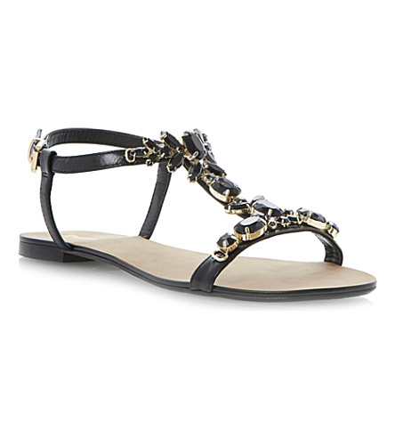 DUNE Khloe embellished T-bar sandals (Black-leather