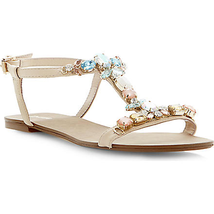 DUNE Khloe embellished T-bar sandals (Blonde-leather