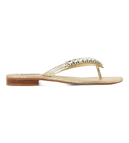 DUNE Nevah embellished leather flat sandals (Gold-leather
