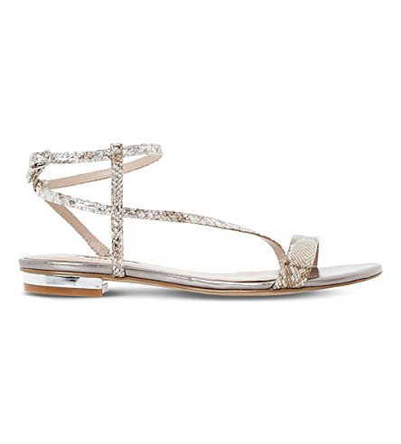 DUNE Reptile-effect metallic sandals (Pewter-reptile+synthetic