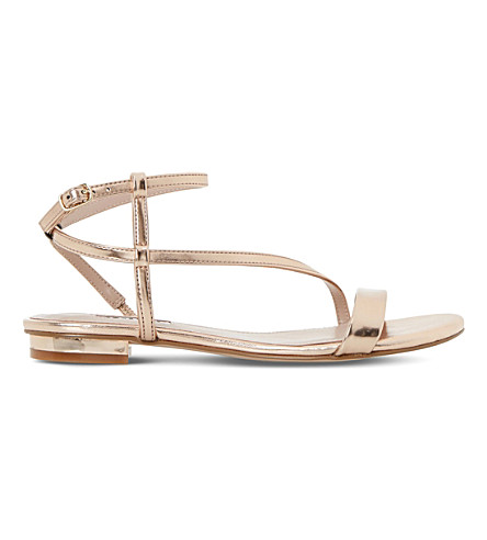 DUNE Miss metallic Asymmetric sandals (Rose+gold-metallic