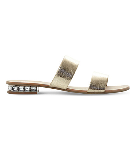 DUNE Nesha metallic leather flat sandals (Gold-metalic