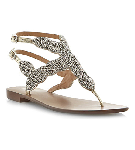 DUNE Karper beaded leather sandals (Champagne-leather