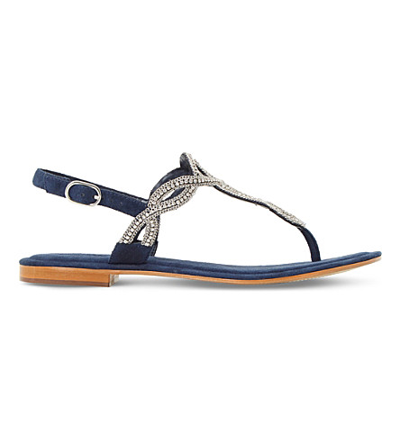 DUNE Nea embellished suede sandals (Navy-leather