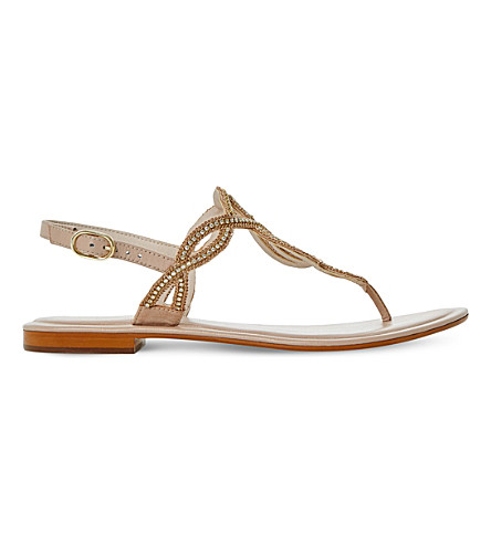 DUNE Nea embellished leather sandals (Blush-leather
