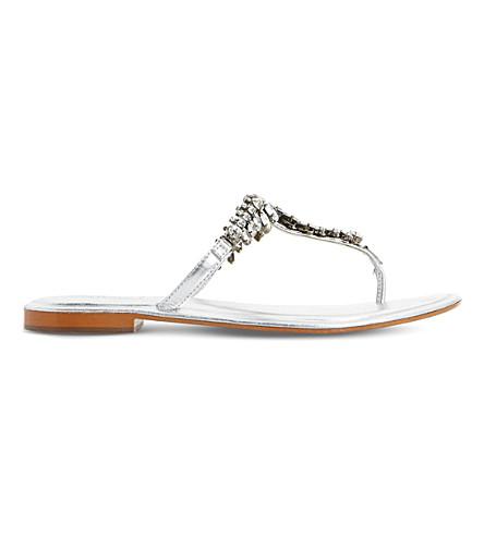 DUNE Nara jewel embellished metallic sandals (Silver-metallic