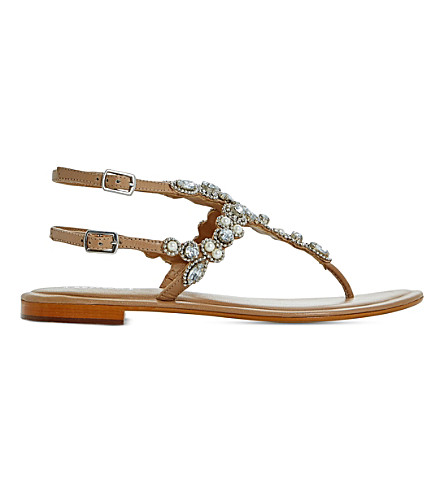 DUNE Nuevo embellished leather sandals (Tan-leather