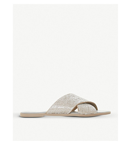 DUNE Nevadaa diamanté strap sandals (Grey-synthetic