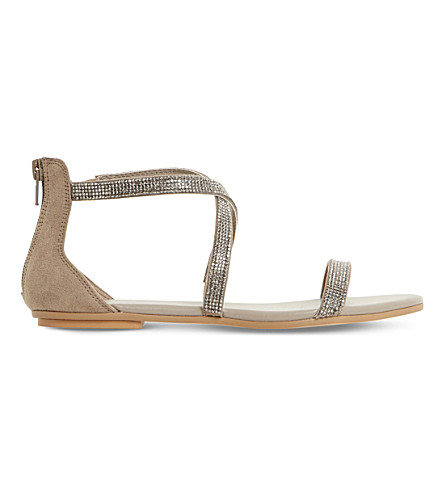 DUNE Niftey cross strap sandals (Grey-synthetic