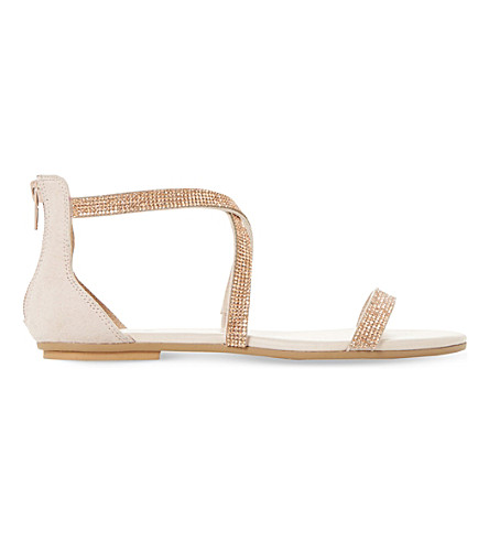 DUNE Niftey cross strap sandals (Blush-synthetic