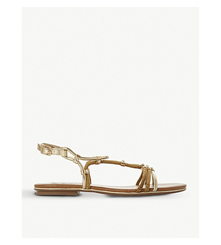 DUNE Novaa rope and metallic leather sandals (Tan