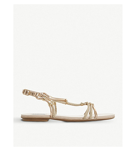 DUNE Novaa rope and metallic leather sandals (Blush-fabric