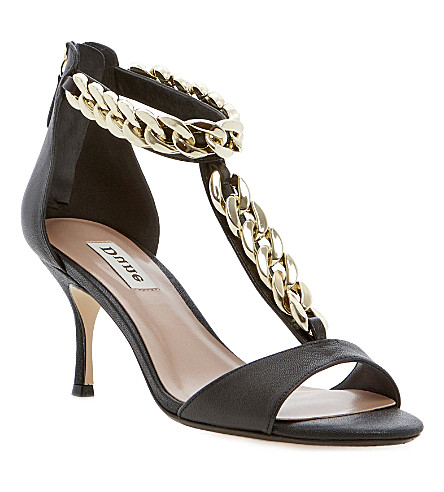 DUNE Heroine chain leather sandals (Black-leather