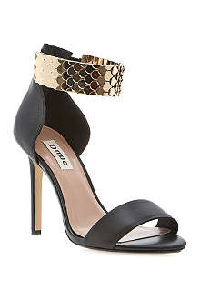 DUNE Huffy scalloped metal strap sandals