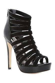 DUNE Hetti suede and leather cage sandals