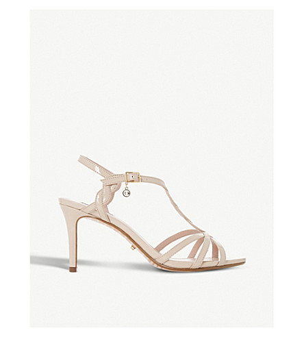 DUNE Mystick patent mid-heel sandals (Nude-patent