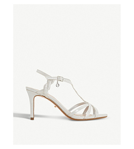 DUNE Mystick patent mid-heel sandals (Silver-synthetic