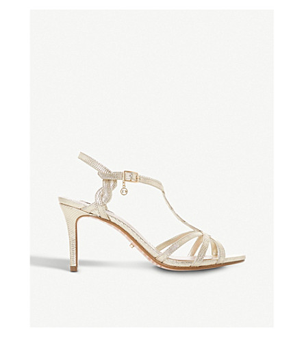 DUNE Mystick patent mid-heel sandals (Gold-reptile+synthetic