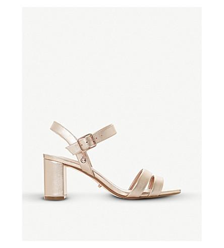 DUNE Meggan suede block-heel sandals (Rose+gold
