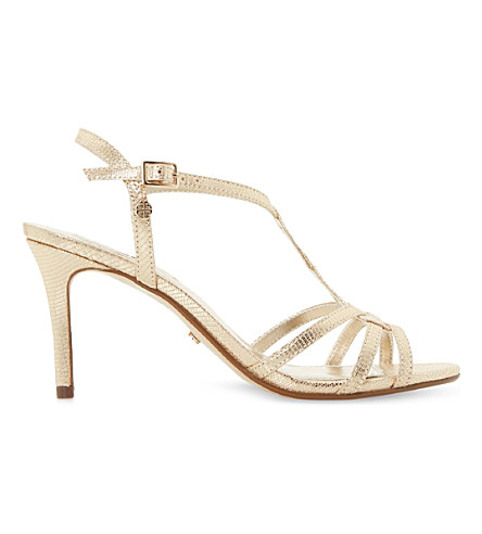 DUNE Miniee reptile-effect metallic sandals (Gold-metalic