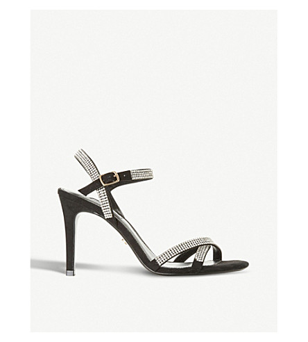 DUNE Madalenna leather embellished heeled sandals (Black-suede