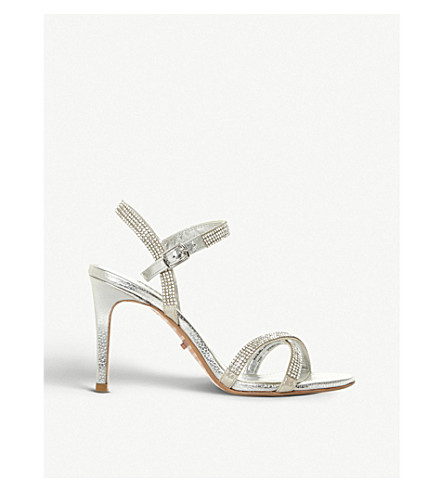 DUNE Madalenna leather embellished heeled sandals (Silver-leather