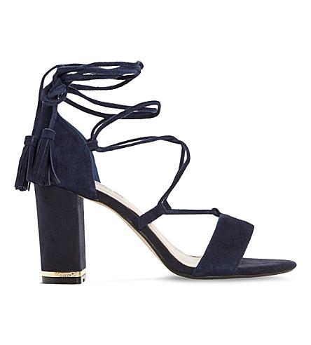DUNE Margo suede block heel sandals (Navy suede