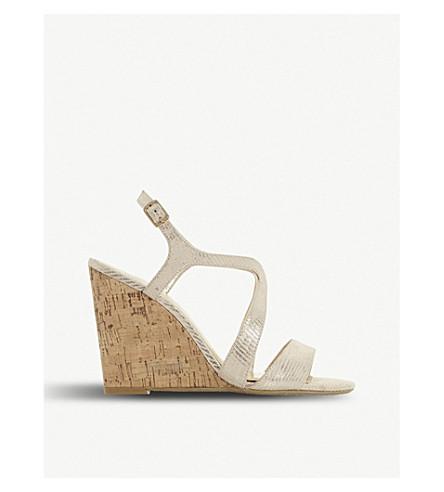 DUNE Mojoe wedge heel sandals (Gold-reptile+synthetic