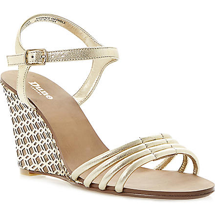 DUNE Hath wedge strappy sandals (Champagne-leather