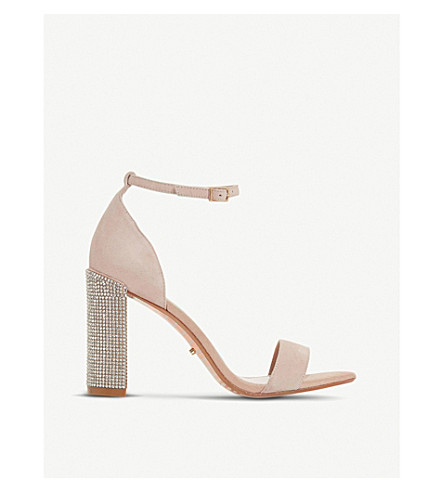 DUNE Mezmerise diamanté suede heeled sandals (Blush-suede