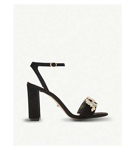 DUNE Moretto floral-embellished suede heeled sandals (Black-suede