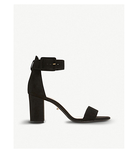 DUNE Mirror suede heeled sandals (Black-suede