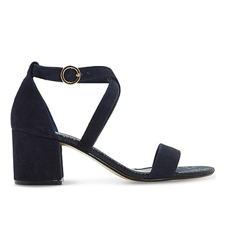 DUNE Montie criss-cross suede sandals (Navy-suede