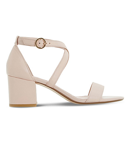 DUNE Montie cross-strap leather sandals (Blush-leather