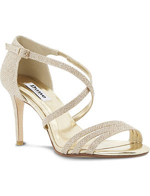 DUNE Highlife lurex strappy heeled sandals