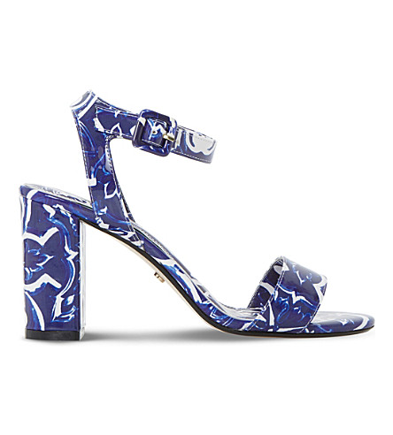 DUNE Myko tile-print sandals (Blue-synthetic+patent