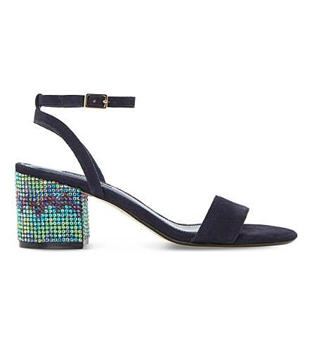 DUNE Marble chevron embellished suede sandals (Navy-suede