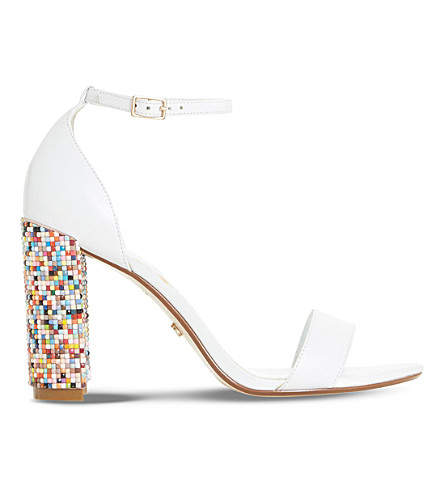DUNE Millionss leather heeled sandals (White-leather