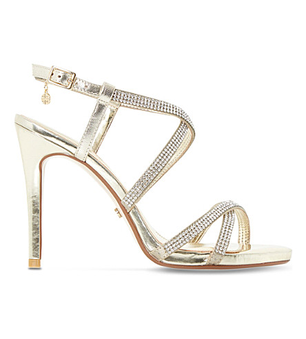 DUNE Mansionn leather high heeled sandals (Gold-leather