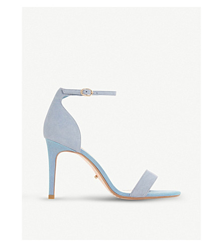 DUNE Mortimer two-tone suede heeled sandals (Blue-suede