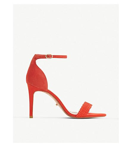 DUNE Mortimer suede heeled sandals (Orange-suede