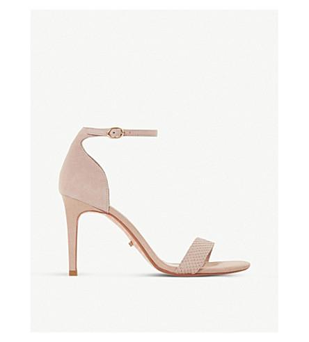 DUNE Mortimer suede heeled sandals (Blush-reptile