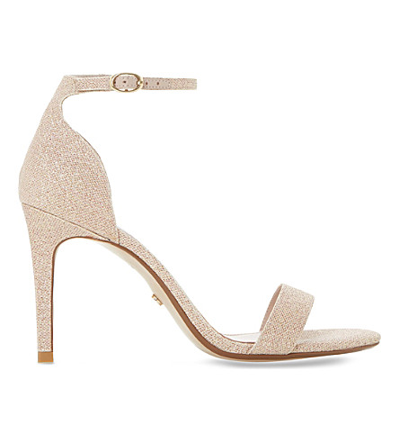 DUNE Mortimer peep-toe metallic sandals (Blush-fabric